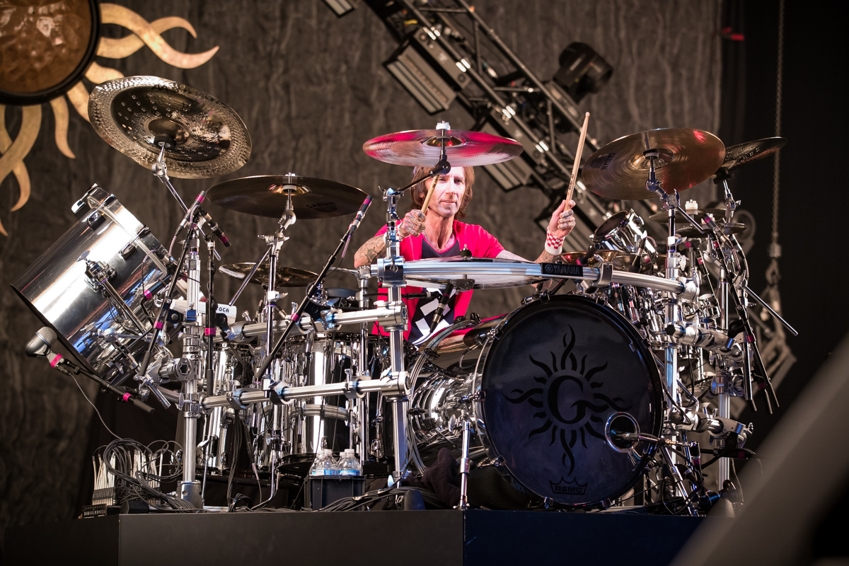 Shannon Larkin of Godsmack performs at Fiserv Forum in Milwaukee, WI on 04/20/2019