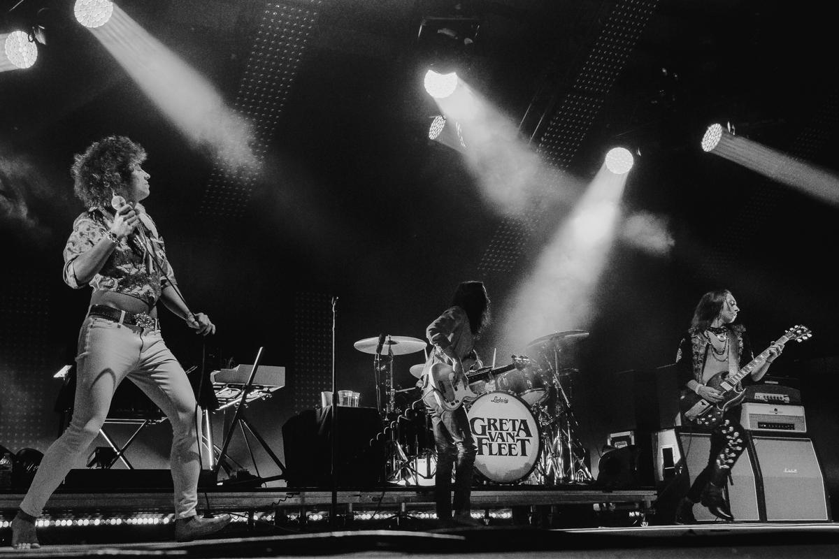 Greta Van Fleet perform at the Charlotte Metro Credit Union Amphitheatre in Charlotte, NC on 5/15/2019.