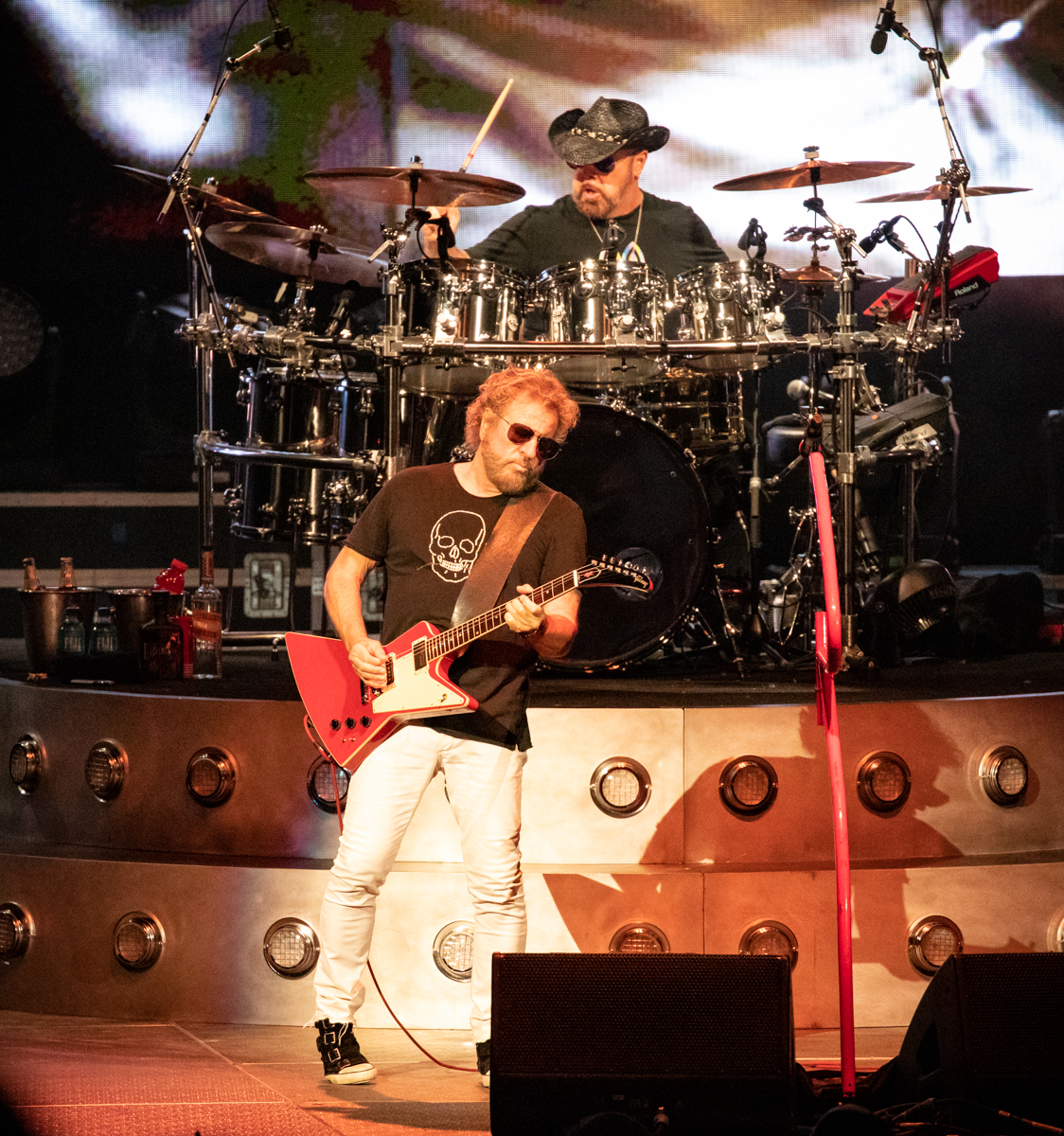 Jason Bonham and Sammy Hagar of The Circle perform at Hollywood Casino Amphitheatre in Tinley Park, IL on 06/07/2019.
