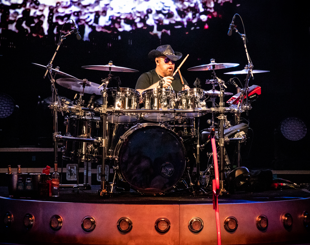 Jason Bonham of The Circle performs at Hollywood Casino Amphitheatre in Tinley Park, IL on 06/07/2019.