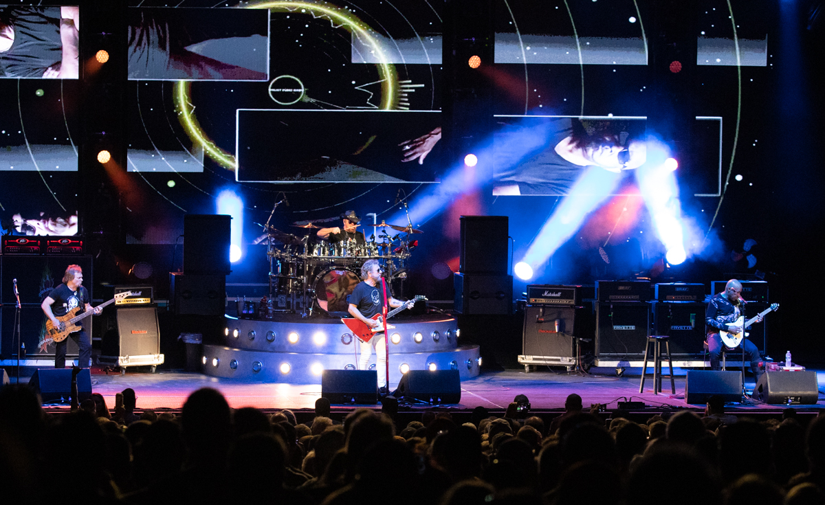 Michael Anthony, Jason Bonham, Sammy Hagar and Vic Johnson of The Circle perform at Hollywood Casino Amphitheatre in Tinley Park, IL on 06/07/2019.
