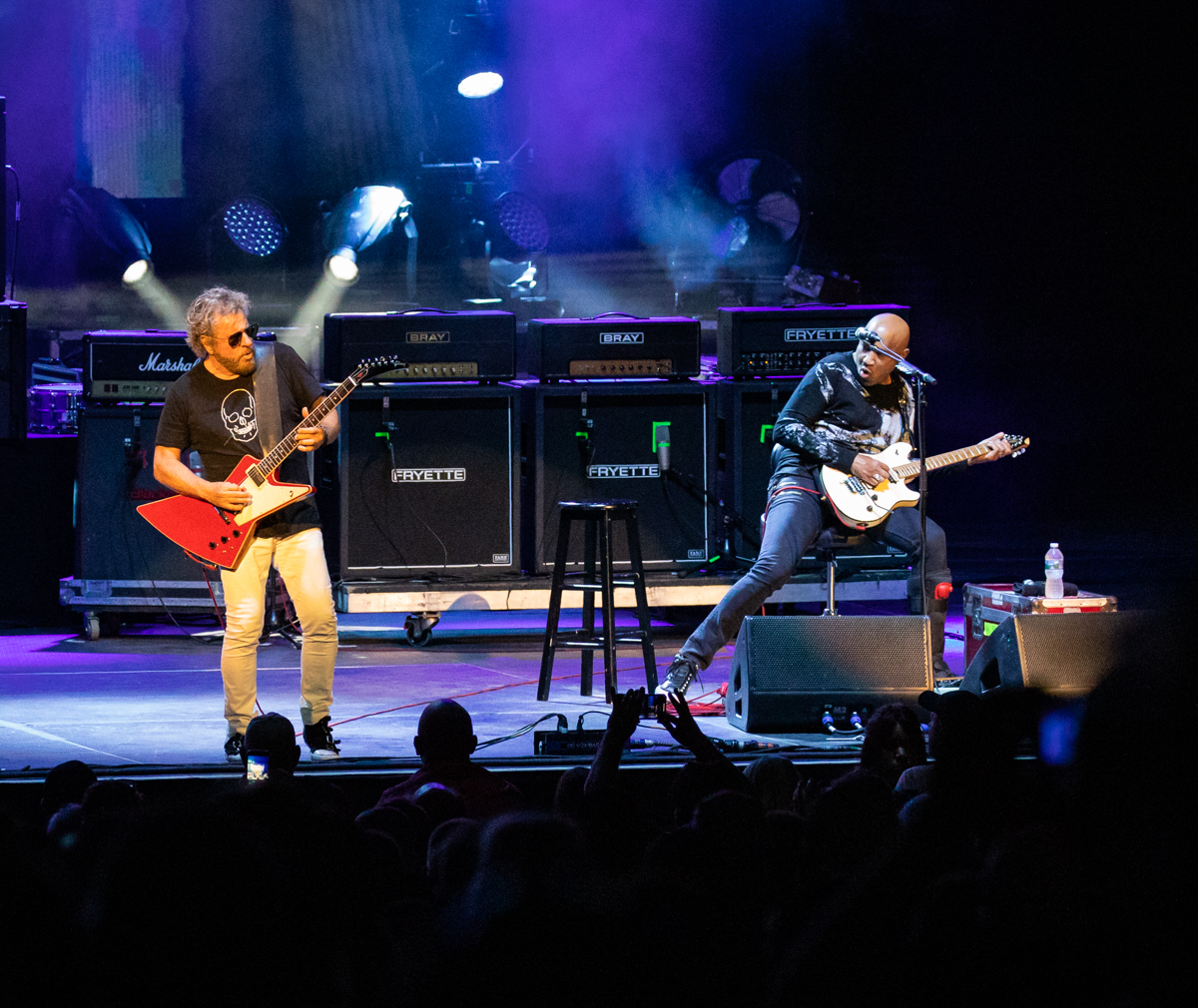 Sammy Hagar and Vic Johnson of The Circle perform at Hollywood Casino Amphitheatre in Tinley Park, IL on 06/07/2019.