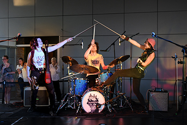 The Accidentals members Katie Larson, Michael Dause, and Savannah Buist performing at Saugatuck Center for the Arts in Saugatuck, Michigan on 06/07/2019.