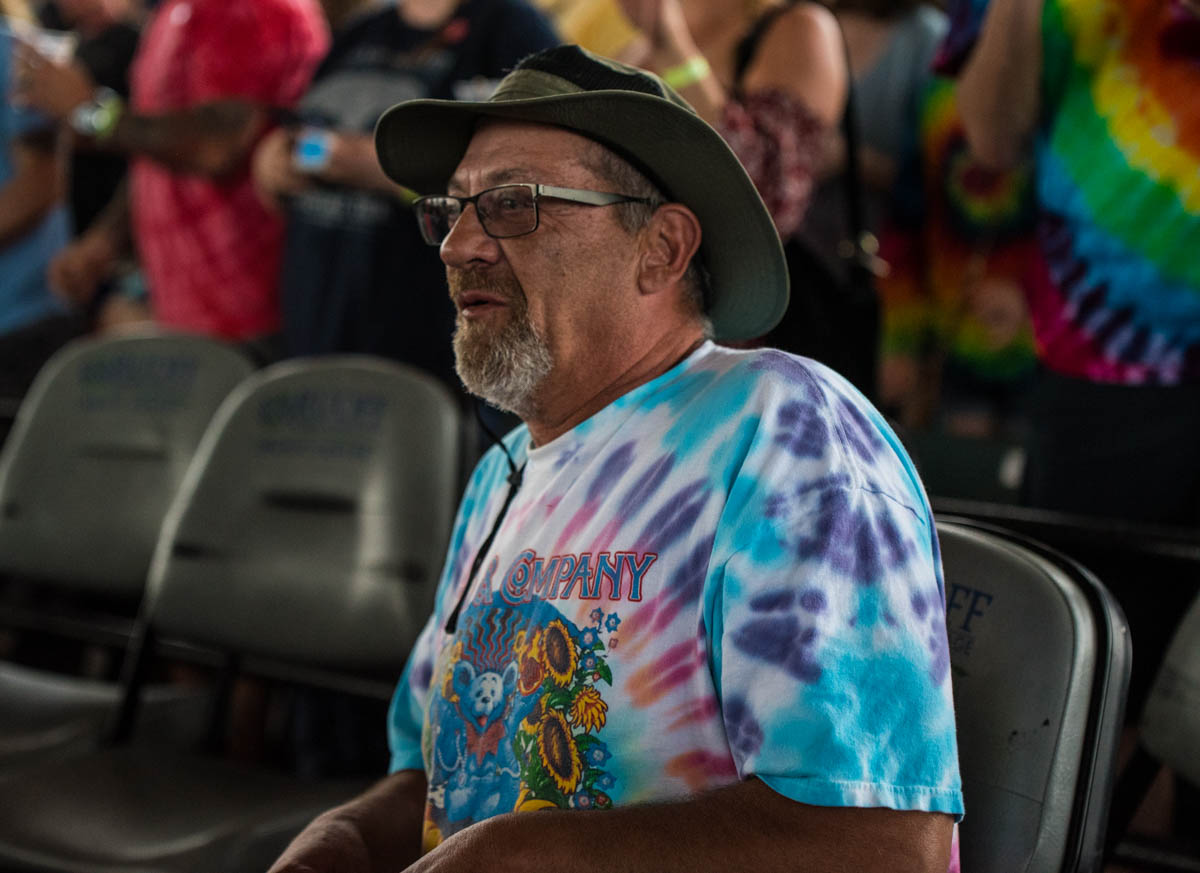 "Dead & Co. fans known as ""Deadheads"" dance in the aisles 