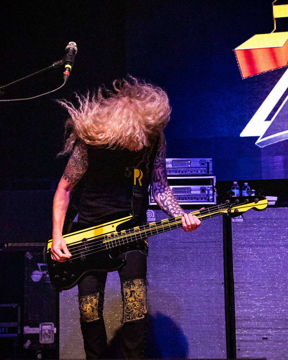 Perry Richardson of Stryper performs at the Arcada Theatre in St. Charles, IL on 07/18/2019.
