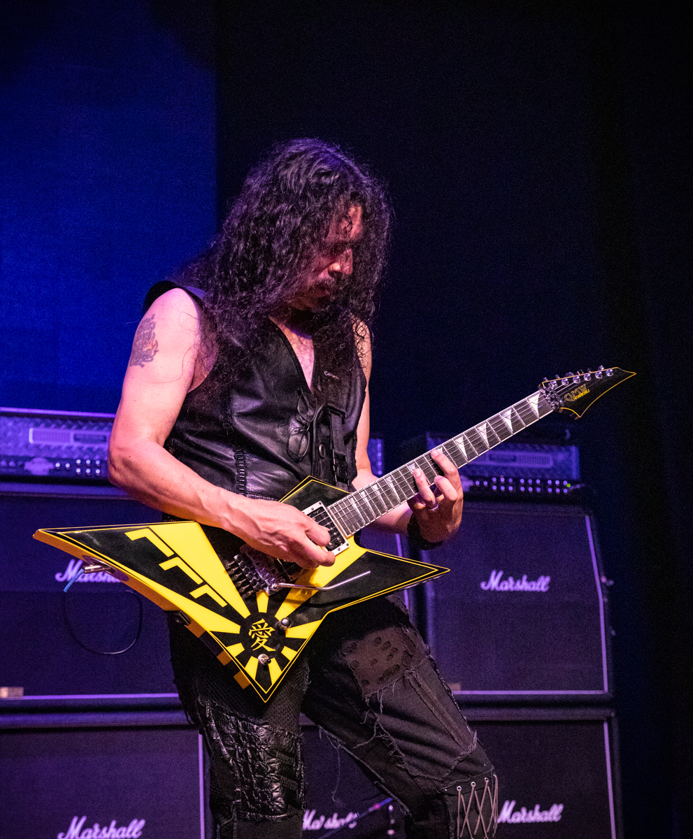 Oz Fox of Stryper performs at the Arcada Theatre in St. Charles, IL on 07/18/2019.