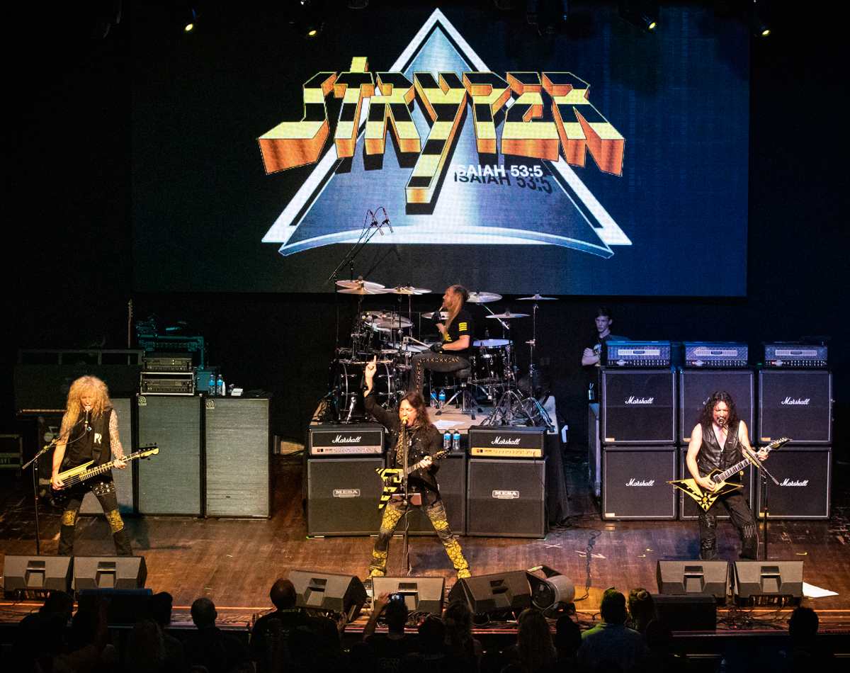 Stryper performing at the Arcada Theatre in St. Charles, IL on 07/18/2019.
