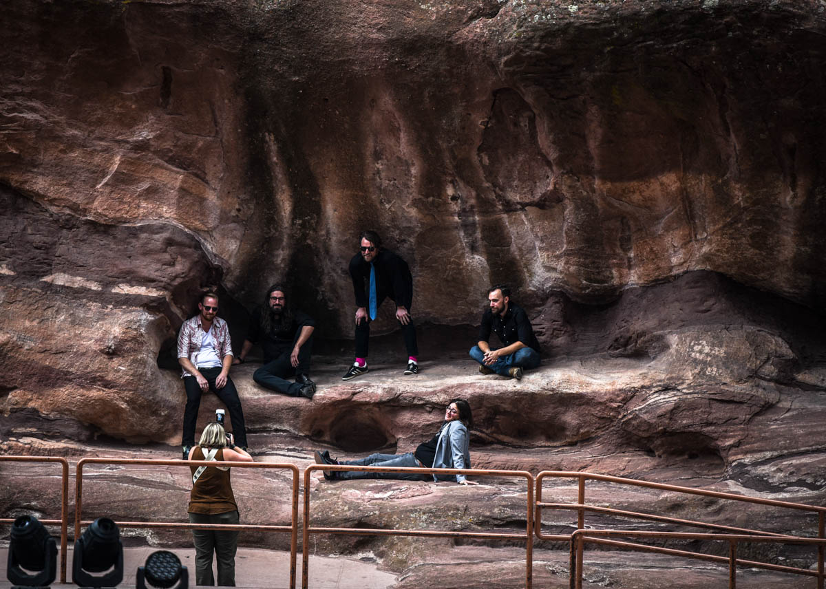 The band Fruition getting pictures before the show  | Red Rocks Amphitheatre | Morrison, CO. | 09/05/2019 | Photos: ©Pix Meyers 2019