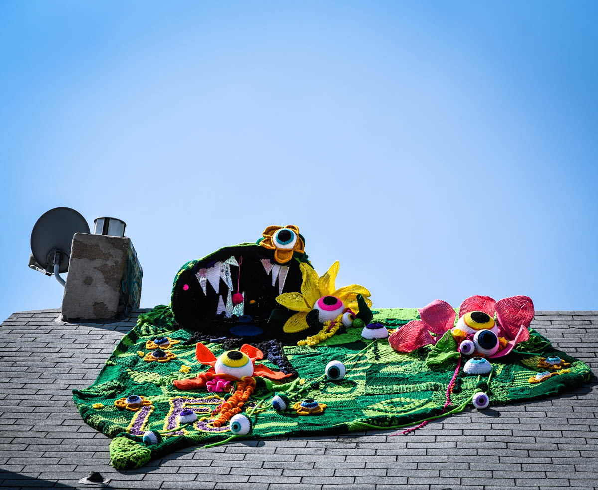 A yarn art installation on a roof at Crush Walls  | River North Arts District (RINO) | Denver, CO. | 09/06/2019 | Photos: ©Pix Meyers 2019