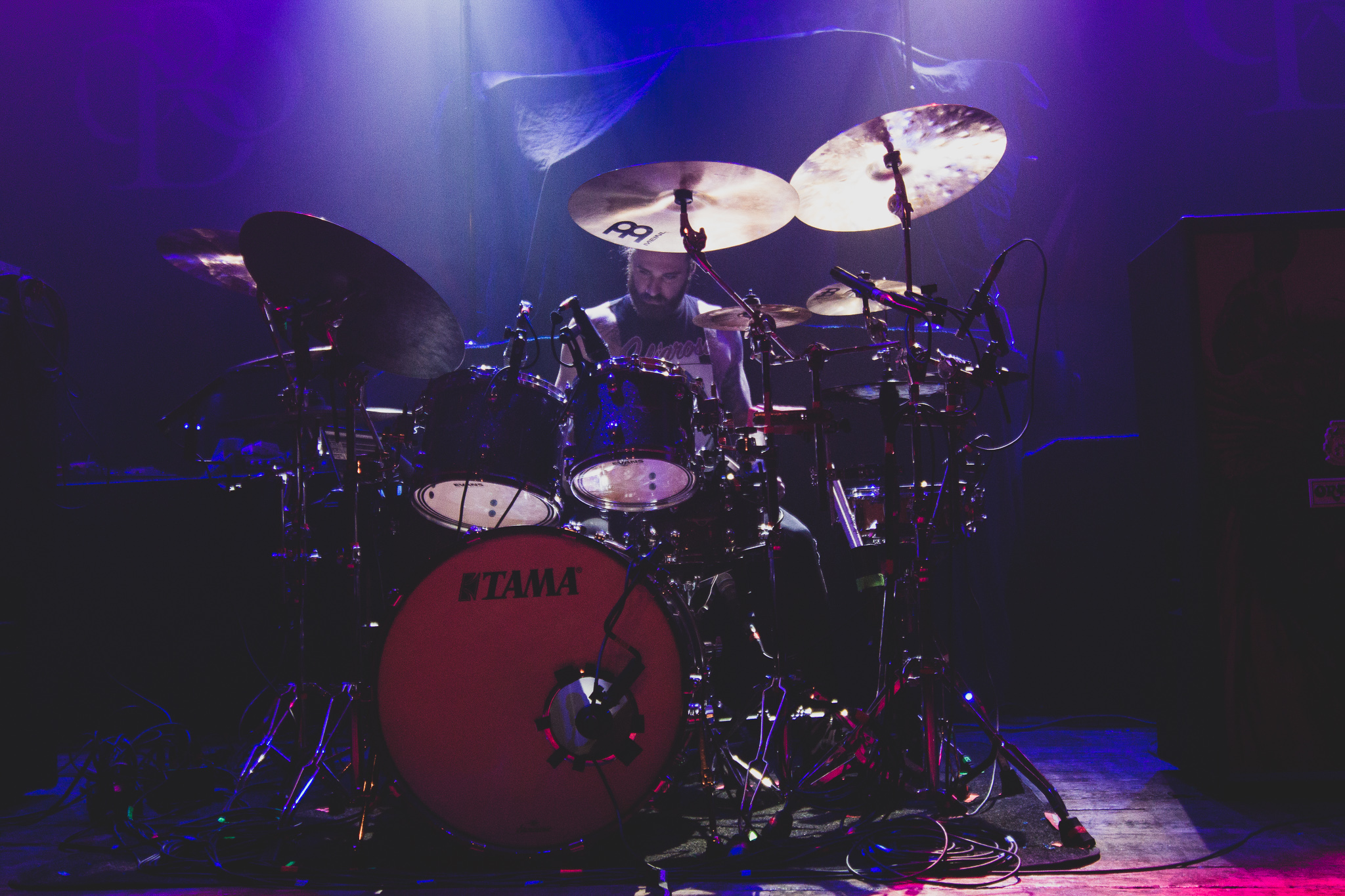 Clay Aeschliman of Polyphia drumming for Lil Aaron in Chicago, IL at The House of Blues on 12/01/2019. Photo:Abby Hamann