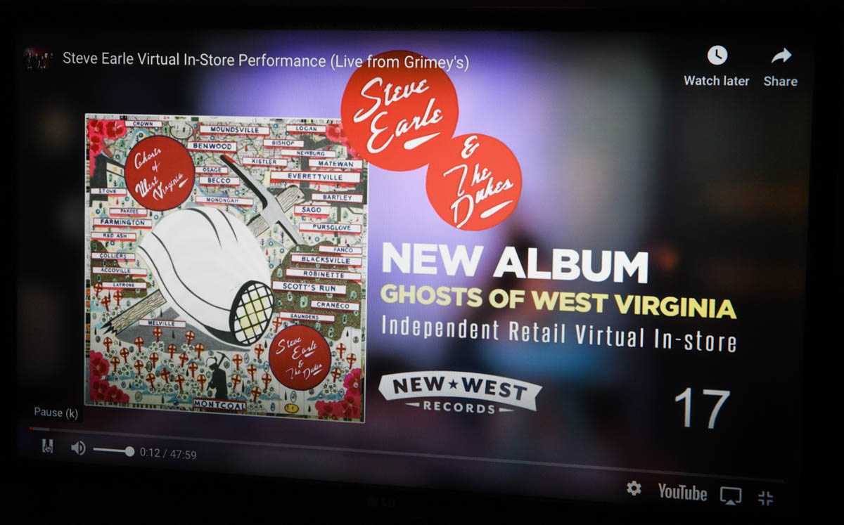 Countdown to in-store performance by Steve Earle on 5.15.2020