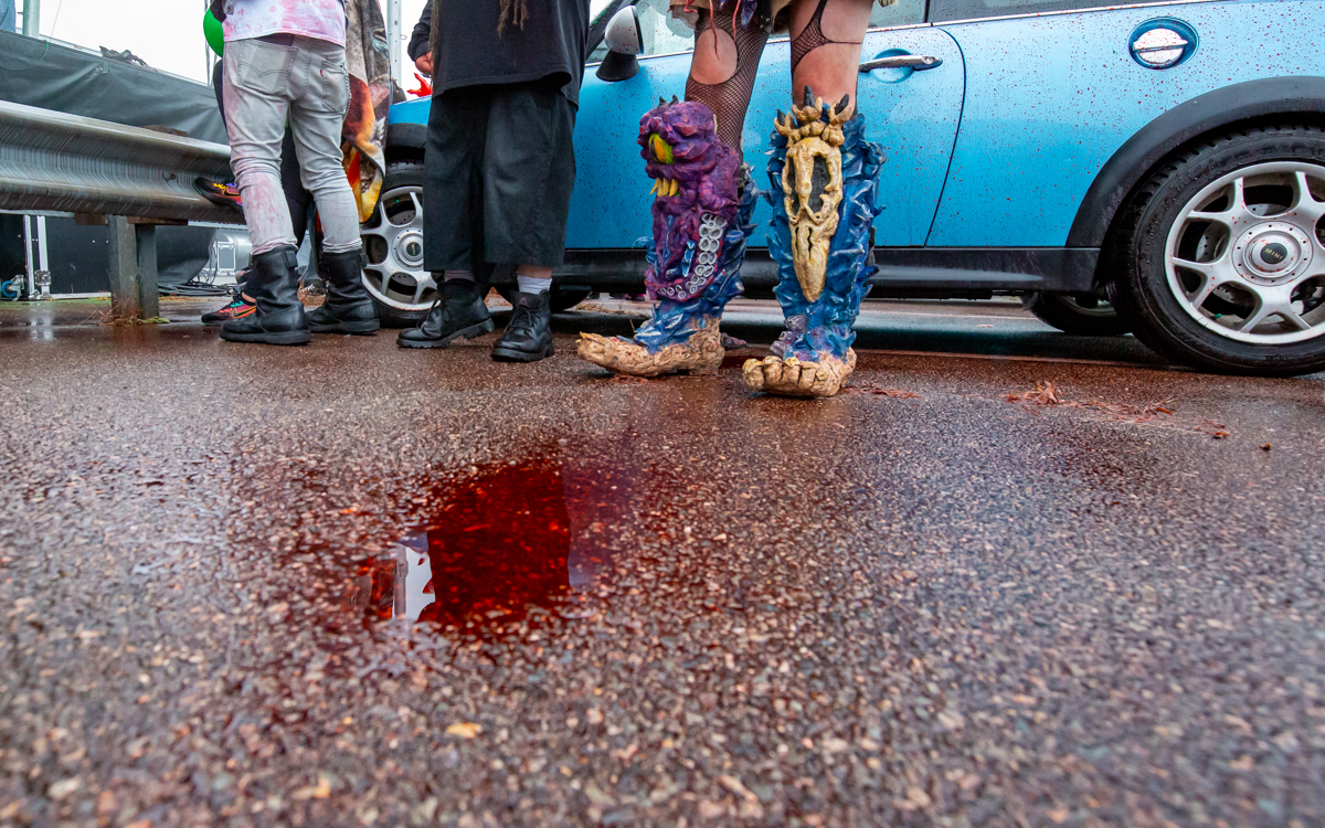 GWAR blood on the pavement  at The Diamond   in Richmond, VA on October 10, 2020. Photo Credit: © Dave Pearson 2020