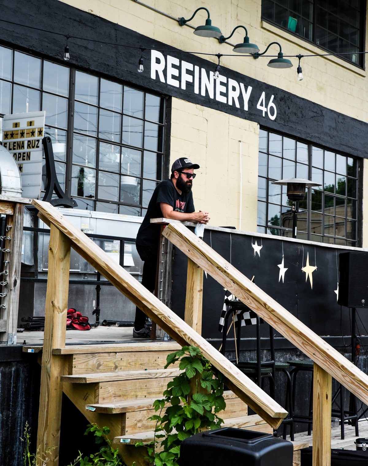 Owner Jessie Rice keeps an eye on operations   Black Circle Brewery   Indianapolis, IN.