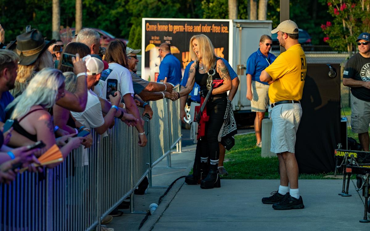 Lita Ford greeting fans at Richmond Harley Davidson in Ashland, VA on July 16, 2021. Photo Credit: © Dave Pearson 2021