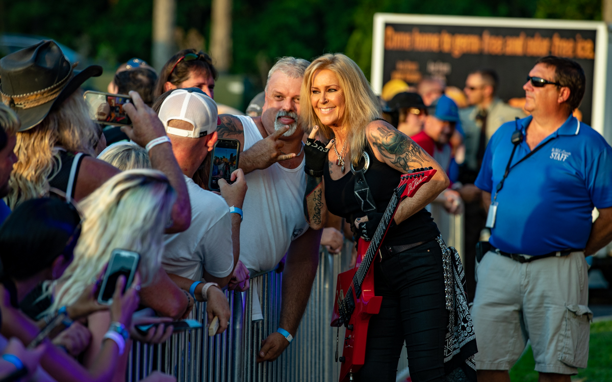 Lita Ford greeting her fans at Richmond Harley Davidson in Ashland, VA on July 16, 2021. Photo Credit: © Dave Pearson 2021