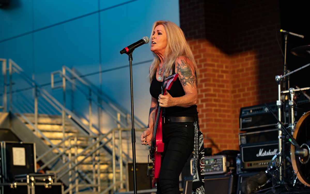 Lita Ford and her band performing at Richmond Harley Davidson in Ashland, VA on July 16, 2021. Photo Credit: © Dave Pearson 2021-
