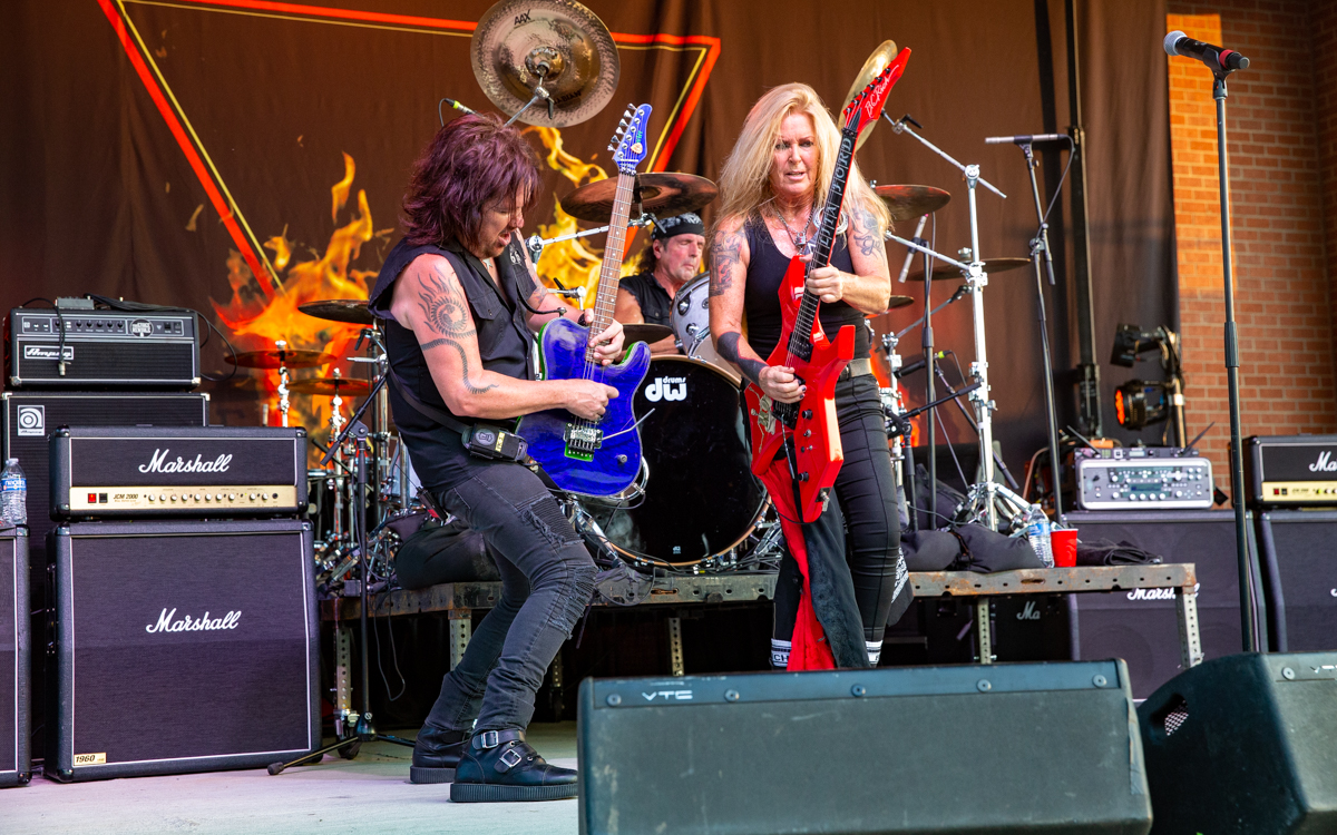 Lita Ford and her band performing at Richmond Harley Davidson in Ashland, VA on July 16, 2021. Photo Credit: © Dave Pearson 2021