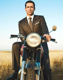 Dandy Don Draper (Jon Hamm) on his Matchless   The photo that started it all - courtesy of DGR